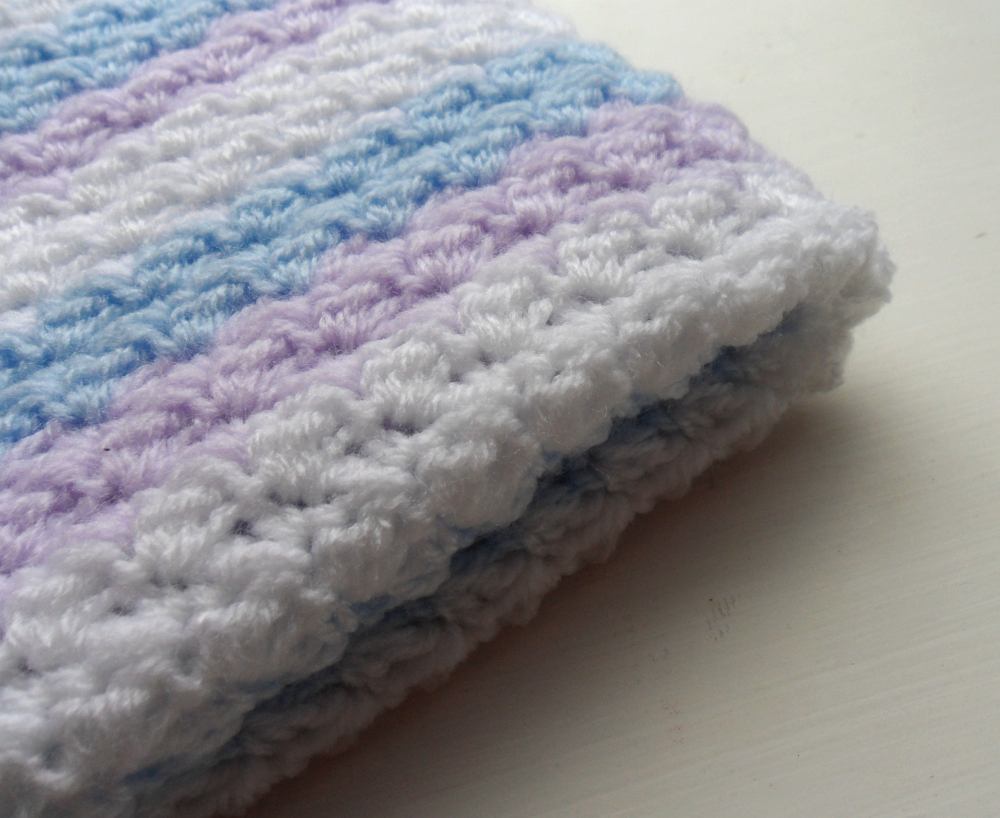 Crochet Baby Blanket Baby Blue Purple White baby shower gift stripy blanket Made to Order