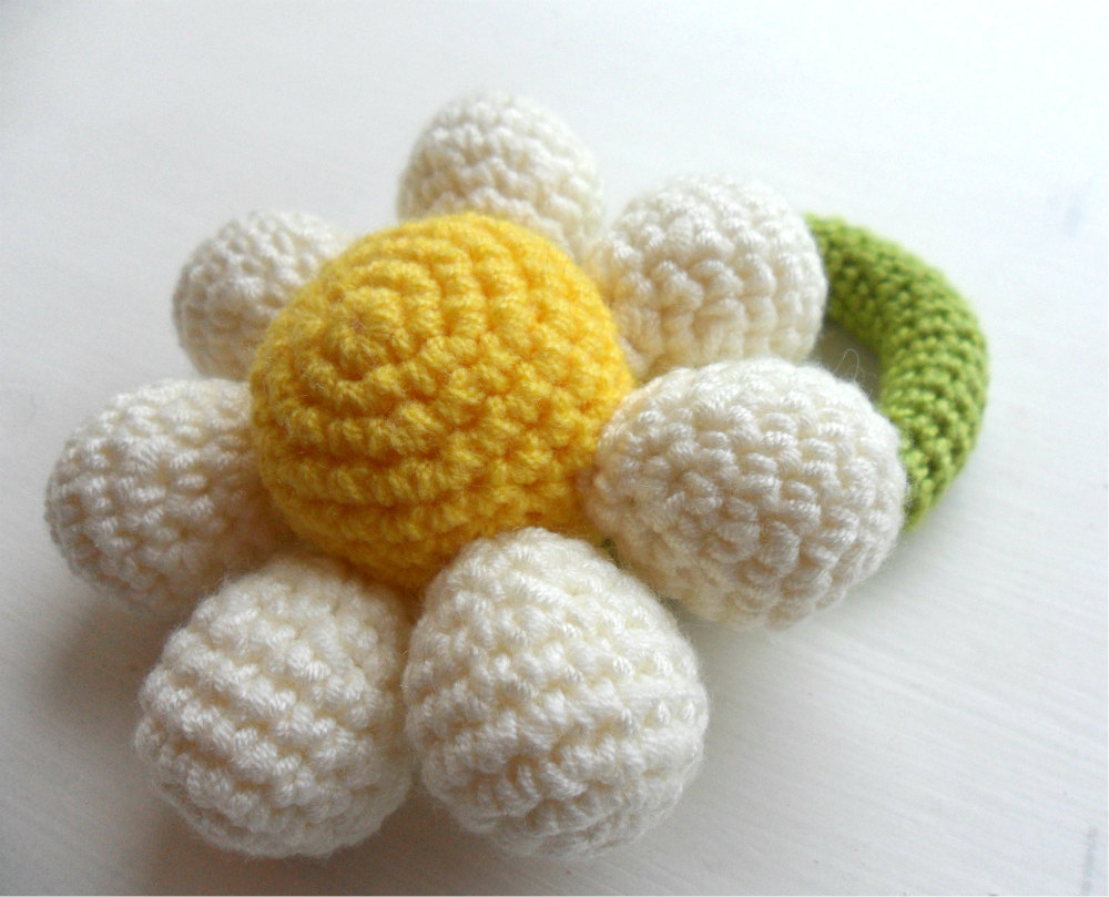 Crochet Flower Girl Baby Rattle Bouquet choose your colour Made to Order