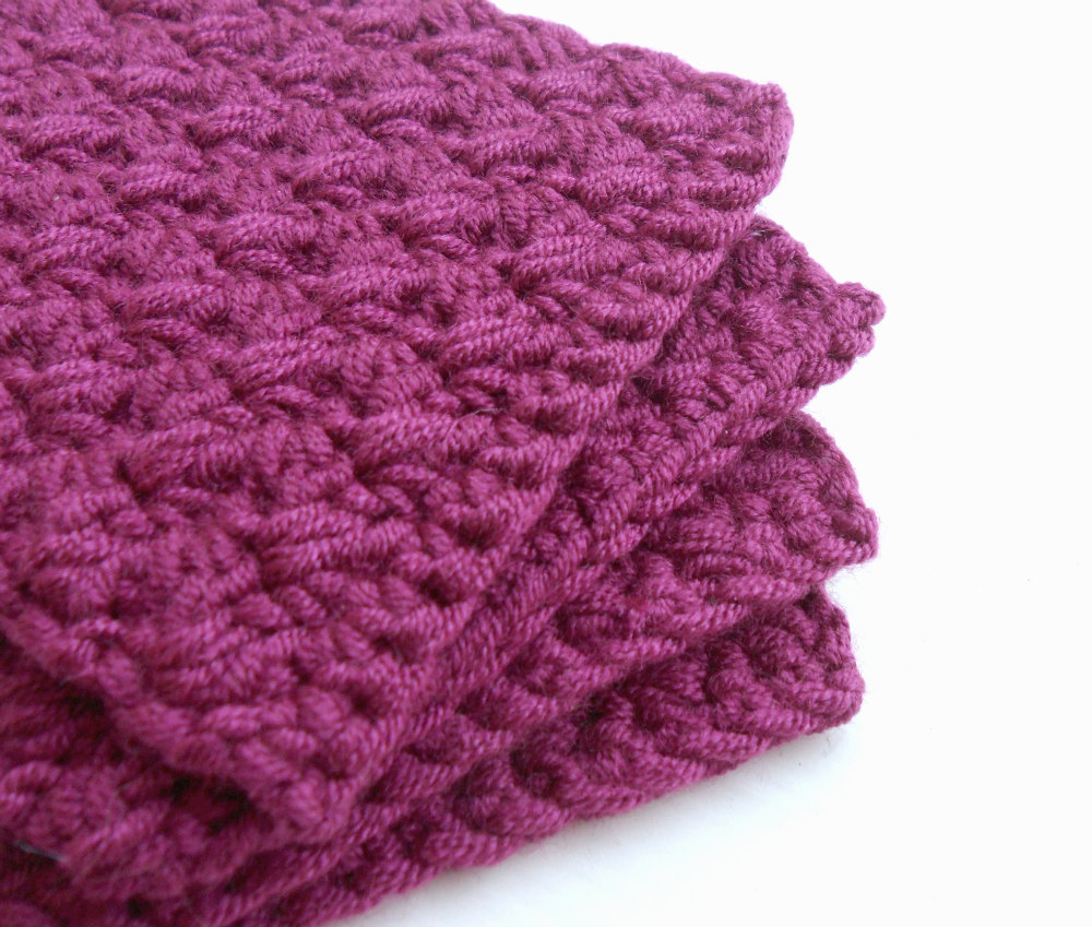 Crocheted Coaster Set of Four Purple Yarn Place Mat Table protector