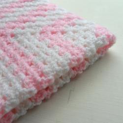 Crochet Granny Square Baby Blanket White and Pink